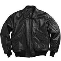 Alpha Industries Leather CWU 45/P Flight Jacket, Black Size 2XL