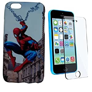 ZOOP Premium High Quality Rubberized Protective Printed Case Cover for Apple Iphone 6G - Spiderman (The Amazing Spider-man) With Tempered Glass