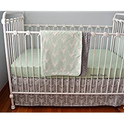 Soren by Angelique Mint and Gray Deer Arrow 3-Piece Crib Bedding Set