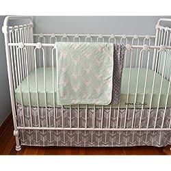 Soren by Angelique Mint and Gray Deer Arrow 3-Piece Crib Bedding Set