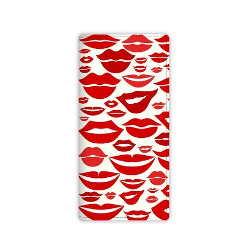 Anhome Swiss Design Woman Sex Red Lip Kiss Pattern Custom Leather Wallet front-871937