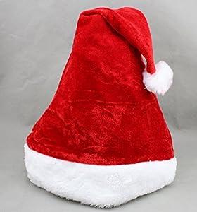 Sanlise décorations de Noël Chapeau en peluche Père Noël chapeau super doux chapeaux de Noël accessoires de Noël chapeau rouge chapeau nécessaire pour Noël