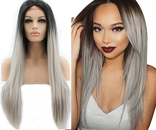 Ebingoo Synthetic Lace Front Wig Heat Resistant Gray Ombre Straight Hair Wigs for Black Women JLS007 (20inches)