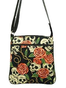 Skulls PINK Roses Rockabilly Gothic Halloween Pattern Cross Over body Shoulder bag Style Handbag Purse cotton fabric, CSOP 1006