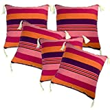 Belive-Me Cotton Pink-Maroon With Tassels Cushion Covers (12X12 Inches) Set Of 5