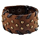 Brass Stud Wide Brown Leather Bracelet / Leather Wristband / Surf Bracelet #137 ~ Leather Bracelet