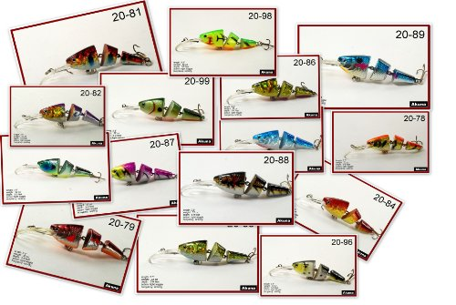 Akuna Bass Trout Pike Jointed Swimbait Fishing Lure (Pack of 15), 3.5-Inch