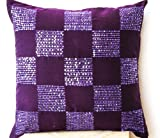 Radiant Orchid Throw Pillow Cover with Bead Sequin Detail - Geometric Pillowcovers - Cotton Silk - Purple Cushion Cover - Handcrafted Hand Embroidered Sequin Pillowcases (18 x 18)
