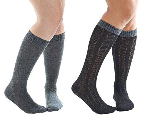 aerosoles-calcetines-hasta-la-rodilla-para-mujer-negro-black-gray-rope-talla-unica