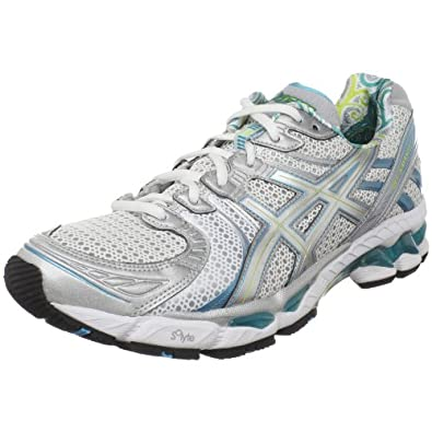 ASICS Women's GEL-Kayano 17 Running Shoe,White/Silver/Turquoise,12 M US