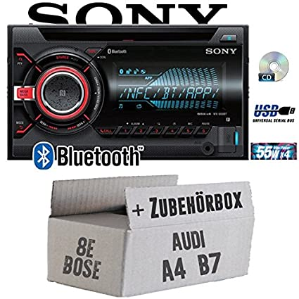 Audi A4 B7 BOSE Concert - Sony WX900BT - 2DIN Bluetooth CD/MP3/USB Autoradio - Einbauset