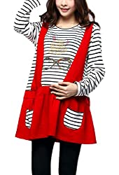 Maternity Round Neck Pullover Long Sleeve Patchwork Stripes Dress