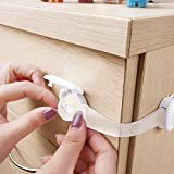 BABY-MATE-Premium-Adjustable-Latches-for-Baby-Proofing-Cabinets-Drawers-White-35-Long-Strap-Child-Safety-Locks-Set-No-Drill-Cabinet-Locks-Multi-use-Latches-Gift-for-Home-Safety