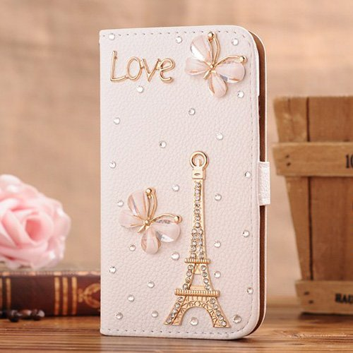 Matek(TM) Samsung Galaxy S5 SV Bling Diamond Folio Leather Smart Case Cover With Card Holder & Magnetic Flip Horizontals - Love Butterfly Tower