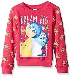 Disney Little Girls\' Inside Out Dream Big Crew Neck Sweatshirt, Hot Pink, 4