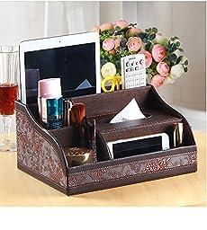Remote organizer Remote holder tissue box holder make up organizer desktop storge PU leather (Brown)