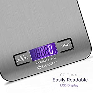 Etekcity 11lb/5kg Digital Multifunction Stainless Kitchen Food Scale, 0.01oz Resolution