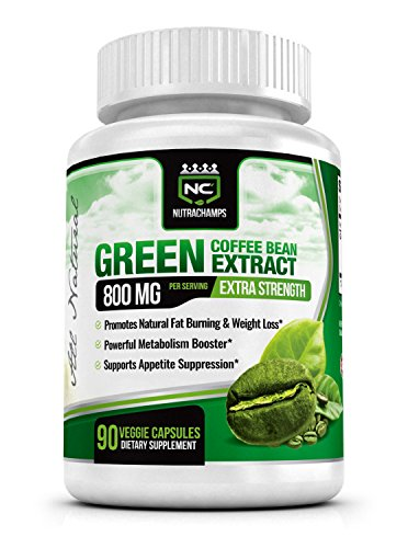 NutraChamps Green Coffee Bean Extract 800mg - 90 Capsules - Best 100% Natural Weight Loss Supplement with Chlorogenic Acid Antioxidant - Highest Quality , Purity & Potency Available on Amazon (Pure Green Bean Coffee compare prices)