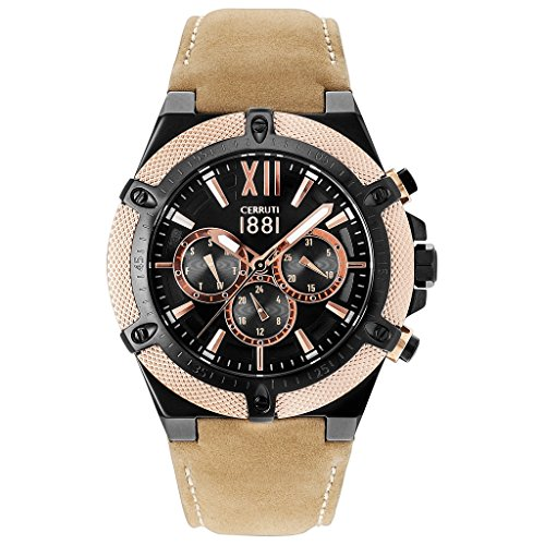 Cerruti CRA036SBR02TN Santiago Men's Chronograph Watch-Black Rose Flower Leather Bracelet Stainless Steel 100M Analog Chrono Date Beige
