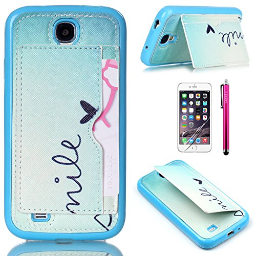 S4 Case, JCmax High Grade [Leather Kickstand] [Ultra Thin] [Non-Scratch] Soft Flexible TPU Back Hybrid Cute Case For Samsung Galaxy S4 i9500 + One Stylus and Screen Film ¨CSmile