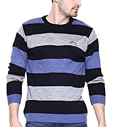 Duke Striped Round Neck Casual Navy Men's Sweater By Returnfavors