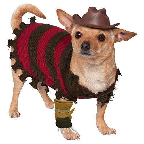 Freddy Krueger Dog Costume Funny Halloween Pet Fancy Dress Striped Sweater Freddy Hat And Freddy Glove Sizes Medium Large Small X-Large Brand New (M