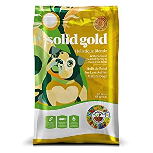 Solid Gold Holistique Blendz Holistic Dry Dog Food, Oatmeal, Pearled Barley & Ocean Fish Meal, Mature, 4lb (Packaging May Vary)