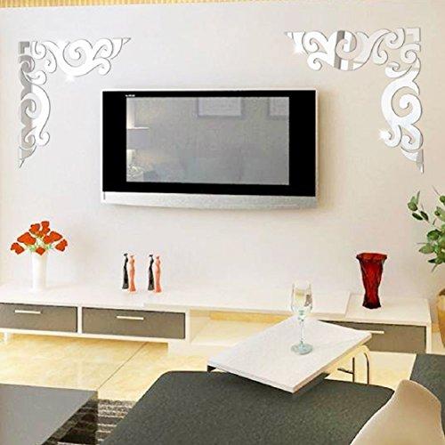 [해외]Ikevan 1 2pcs 아크릴 예술 현대 3D 거울 장식 패턴 벽 스티커 세트 DIY 홈 벽 룸 장식 장식 소파 TV 설정 벽 Ar- 홀 이동식/Ikevan 1 Set 2pcs Acrylic Art Modern 3D
