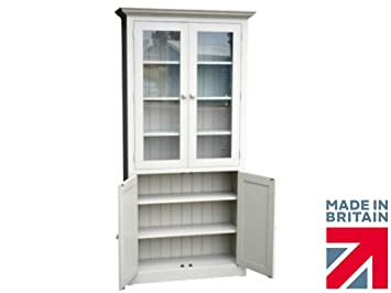 100% Solid Wood Glazed Display Cabinet, 7ft Tall F&B Painted Bookcase Unit. You Choose the Paint Finish! No flat packs, No assembly (7GSC)