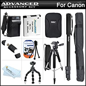 Complete Accessory Bundle Kit For Canon Powershot Elph 130 IS, ELPH 115 IS, A2600, A2500, A2300 IS Digital Camera Includes Extended (900mAh) Replacement NB-11L Battery + Ac/Dc Travel Charger + Hard Case + 57 Tripod + 67 Monopod + USB Card Reader + More
