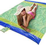 Search : Beach Blanket XL Extra Large Oversized 7 x 7 Feet, Lightweight and Sand Proof with 4 Stakes, Used for Outdoor Camping, Big Family Picnic Mat, Throw or Shade Tarp (Green/Yellow/Royal Blue, 7 x 7 Feet)