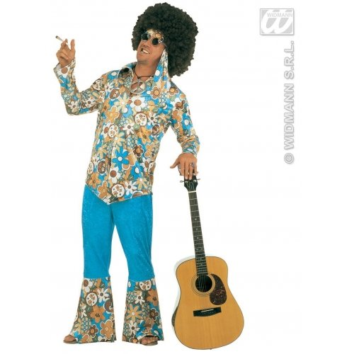 XXL Mens Hippie Man Costume Outfit for 60s 70s Fancy