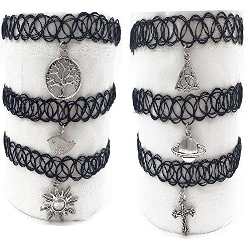 6pc Nero Ciondolo con collana girocollo gotico elastico doppia linea Henna collare collana per le ragazze, Lega, colore: Set2, cod. Nec042-B