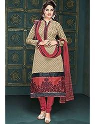 Utsav Fashion Women's Beige Cotton And Art Chanderi Silk Readymade Churidar Kameez-Large