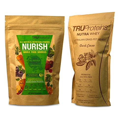 TRUProteins Meal Replacement Bundle. Consists of 2 Items, Dark Cacao NutraWhey Protein Powder(15 Serving) & Nurish Nutritional Boost for smoothies(12 Servings) (Hmr Shake Mix compare prices)