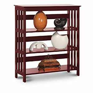 Legacy Decor 3 Tier Mission Style Bookshelves Bookcase Wood Cherry Finish Kitchen
