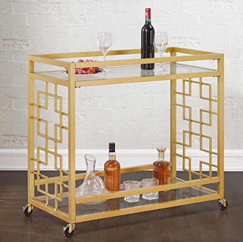 Retro Gold Tone Bar Cart Metal Serving Tray Table Coffee 2-Shelf Glass Kitchen Sofa Side Hall Entry 4