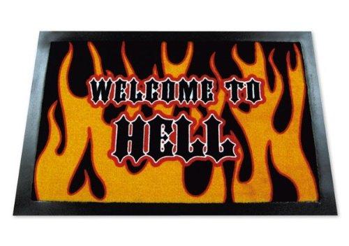 ZERBINO Welcome to Hell. ZERBINO con scritta in-zerbino