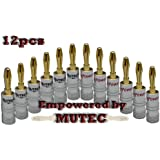 Mutec 24k plaqué or, Fiches banana adaptateur - 12 pack