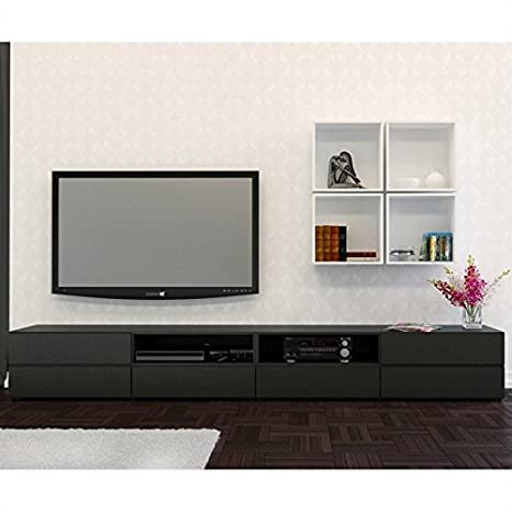 Nexera Avenue 60'' TV Stand with Decorative Wall Cubes