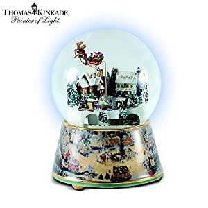 Cheap Thomas Kinkade Village Christmas Animated Musical Snowglobe By