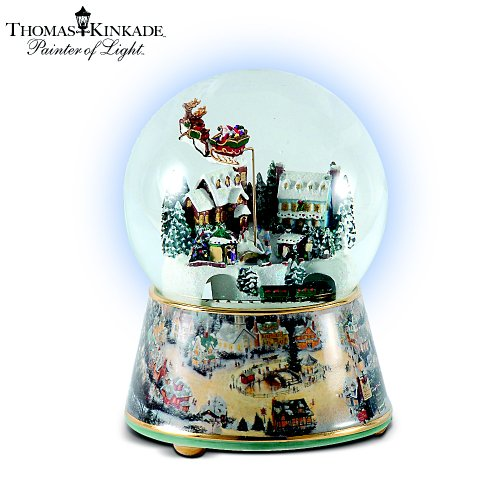 Thomas Kinkade Village Christmas Animated Musical Snowglobe