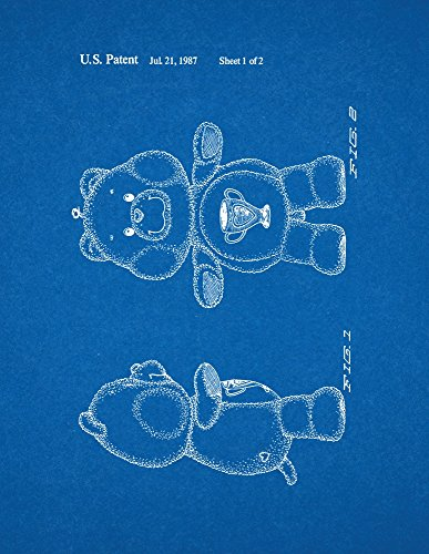 "Champ Care Bear Toy Patent Art Blueprint Poster (11"" X 14"") front-244396"