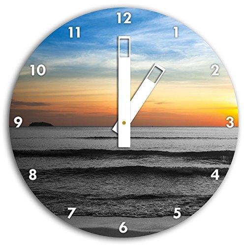 malibu-beach-alba-acqua-sabbia-bianco-nero-30-centimetri-di-diametro-orologio-da-parete-con-il-bianc