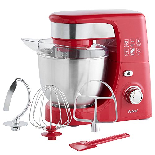 Best Prices! VonShef 3.5-QT Stand Mixer 300W with 5 Speeds includes Beater, Balloon Whisk, Dough Hoo...
