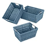 Whitmor 6500-1959 Rattique Storage Baskets, Berry Blue, Set of 3