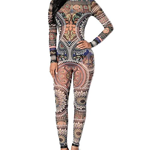 Womens Long Sleeve Mesh Backless Tribal Tattoo Print Bodysuit Jumpsuit Romper (Tribal Print Tattoos)