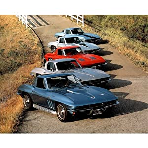 Ron Kimball (5 Old Corvette Cars) Photo Print Poster - 13x19 custom fit with RichAndFramous Black 19 inch Poster Hangers