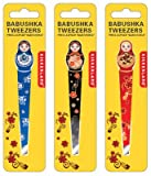 Babushka Tweezers Eyebrow Hair Plucker Assorted Colors Trim Shape