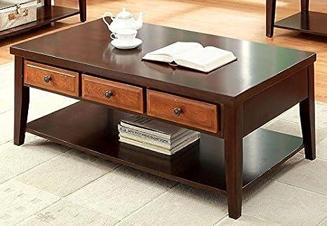 Leduc Coffee Table In Dark Oak Dark Cherry by Furniture of America